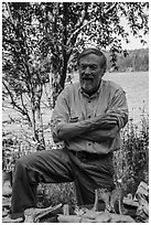 Rolf Peterson, wildlife biologist. Isle Royale National Park ( black and white)