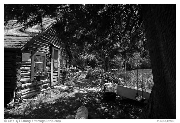 Bangsund Cabin, site of moose and wolf study. Isle Royale National Park (black and white)