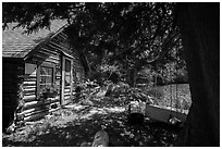 Bangsund Cabin, site of moose and wolf study. Isle Royale National Park ( black and white)