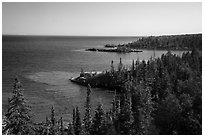 Costline seen from top of Rock Harbor Lighthouse. Isle Royale National Park ( black and white)