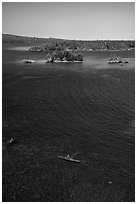Kayakers, blue waters, and islets from above. Isle Royale National Park ( black and white)