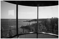 View from inside top of Rock Harbor Lighthouse. Isle Royale National Park ( black and white)