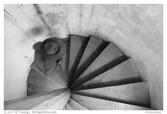 Walking up Rock Harbor Lighthouse staircase. Isle Royale National Park (black and white)