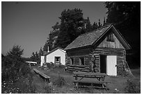 Net House and Edisen Cabin, Edisen Fishery. Isle Royale National Park ( black and white)