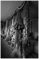 Inside Net House, Pete Edisen Fishery. Isle Royale National Park ( black and white)