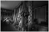 Net House interior, Edisen Fishery. Isle Royale National Park ( black and white)