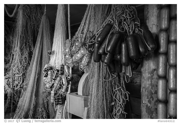 Fishing nets in Net House, Pete Edisen Fishery. Isle Royale National Park (black and white)
