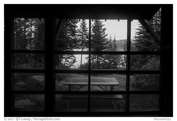 View from inside shelter, Moskey Basin. Isle Royale National Park (black and white)