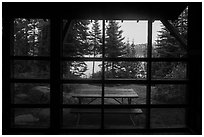 View from inside shelter, Moskey Basin. Isle Royale National Park ( black and white)