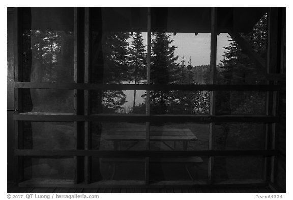 View from inside shelter at dusk, Moskey Basin. Isle Royale National Park (black and white)