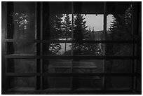 View from inside shelter at dusk, Moskey Basin. Isle Royale National Park ( black and white)