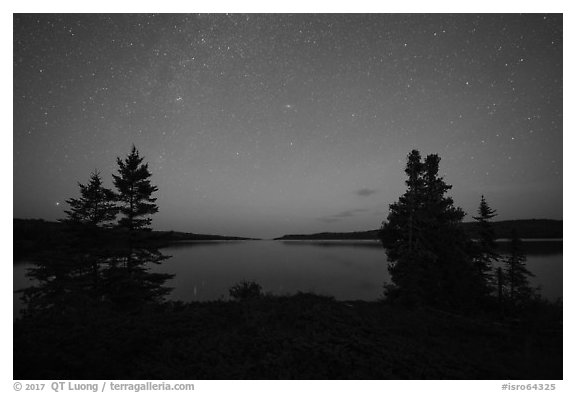 Dusk, Moskey Basin. Isle Royale National Park (black and white)