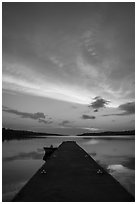 Moskey Basin dock, sunrise. Isle Royale National Park ( black and white)