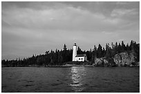Rock Harbor Lighthouse, early morning. Isle Royale National Park ( black and white)