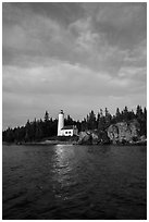 Rock Harbor Lighthouse 1855. Isle Royale National Park ( black and white)