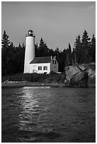 Rock Harbor Lighthouse and reflection. Isle Royale National Park ( black and white)