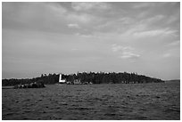 Distant view of Rock Harbor Lighthouse. Isle Royale National Park ( black and white)