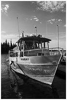 Voyageur II ferry moored at Rock Harbor. Isle Royale National Park ( black and white)