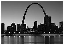 Arch and downtown skyline at sunset. Gateway Arch National Park ( black and white)