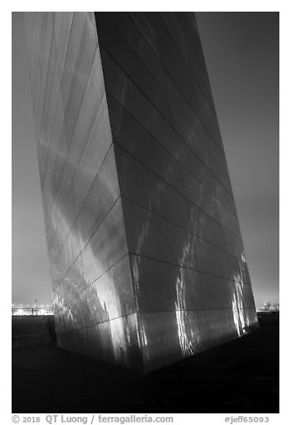 South pillar of Gateway Arch at night. Gateway Arch National Park (black and white)