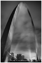Downtown St Louis seen through Gateway Arch. Gateway Arch National Park ( black and white)