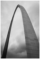 St Louis Arch and cloudy skies. Gateway Arch National Park ( black and white)