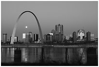 St Louis skyline and Mississippi River at dawn. Gateway Arch National Park ( black and white)