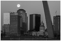 Downtown, Old Courthouse, Arch pillar, and moon. Gateway Arch National Park ( black and white)