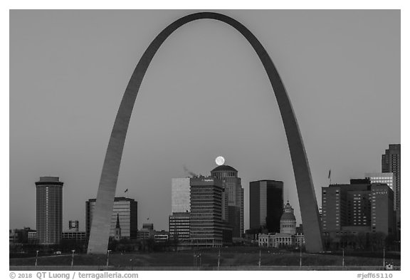 Moonset, downtown buildings, Old Courthouse, framed by Arch. Gateway Arch National Park (black and white)