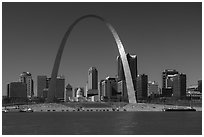 Arch and skyline across Mississippi River. Gateway Arch National Park ( black and white)