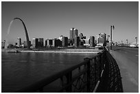 Arch and skyline from Eads Bridge. Gateway Arch National Park ( black and white)