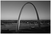 Arch and Mississippi River from above at sunset. Gateway Arch National Park ( black and white)