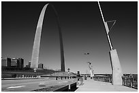 Renovated waterfront and Arch. Gateway Arch National Park ( black and white)