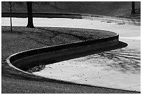 Curves of drained North Pond. Gateway Arch National Park ( black and white)