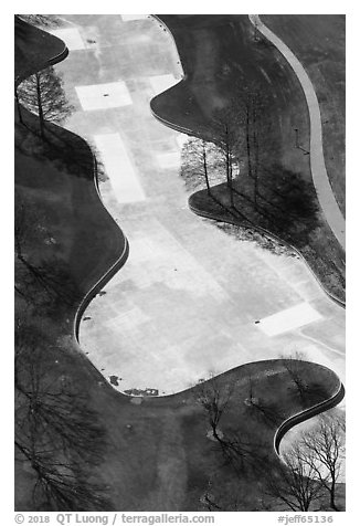 Drained South Pond from the Arch. Gateway Arch National Park (black and white)