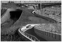 Curves of pathway and North railroad tunnel, part of Dan Kiley's landscape design. Gateway Arch National Park ( black and white)