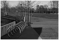 Rings and pathway. Gateway Arch National Park ( black and white)