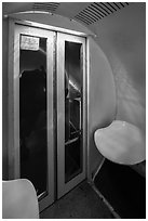 Inside tram capsule. Gateway Arch National Park ( black and white)