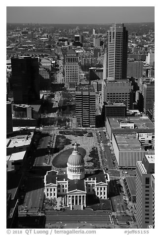 Old Courthouse and downtown St Louis from top of Arch. Gateway Arch National Park (black and white)