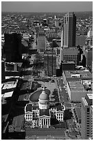 Old Courthouse and downtown St Louis from top of Arch. Gateway Arch National Park ( black and white)