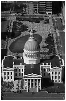 Old Courthouse and Kiener Plaza Park from top of Arch. Gateway Arch National Park ( black and white)