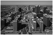 Dowtown St Louis, and Old Courthouse from top of Arch. Gateway Arch National Park ( black and white)