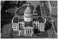 Old Courthouse from top of Arch. Gateway Arch National Park ( black and white)