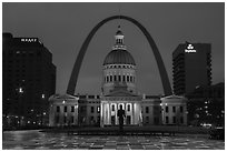 Old Courthouse, Arch, and downtown from Kiener Plaza at night. Gateway Arch National Park ( black and white)