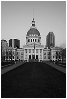 Old Courthouse from Arch's grounds at dawn. Gateway Arch National Park ( black and white)
