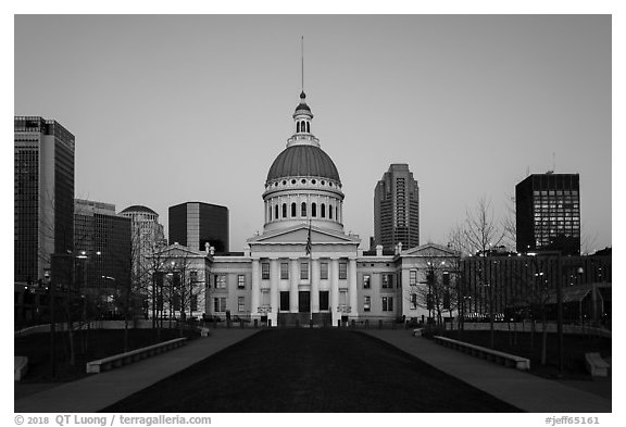 Old Courthouse and downtown from Arch's grounds at dawn. Gateway Arch National Park (black and white)