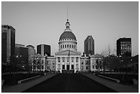 Old Courthouse and downtown from Arch's grounds at dawn. Gateway Arch National Park ( black and white)