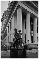Old Courthouse with statue of Dred and Harriet Scott. Gateway Arch National Park ( black and white)