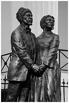 Statue of Dred and Harriet Scott by Harry Weber. Gateway Arch National Park ( black and white)