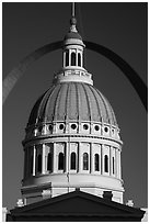 Historic Old Courthouse dome and Arch. Gateway Arch National Park ( black and white)